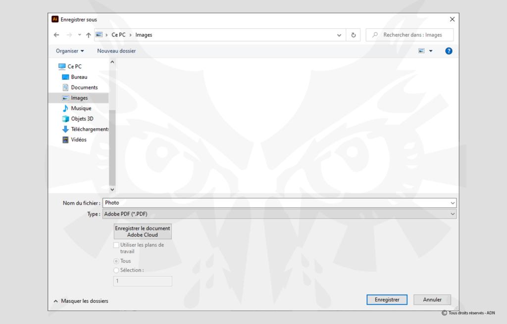 Choisissez ensuite Fichier > Enregistrer sous, puis choisissez le type Adobe PDF puis cliquez sur Enregistrer