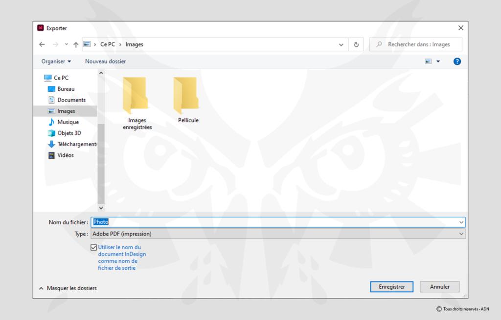 Choisissez ensuite Fichier > Exporter, puis choisissez le type Adobe PDF puis cliquez sur Enregistrer